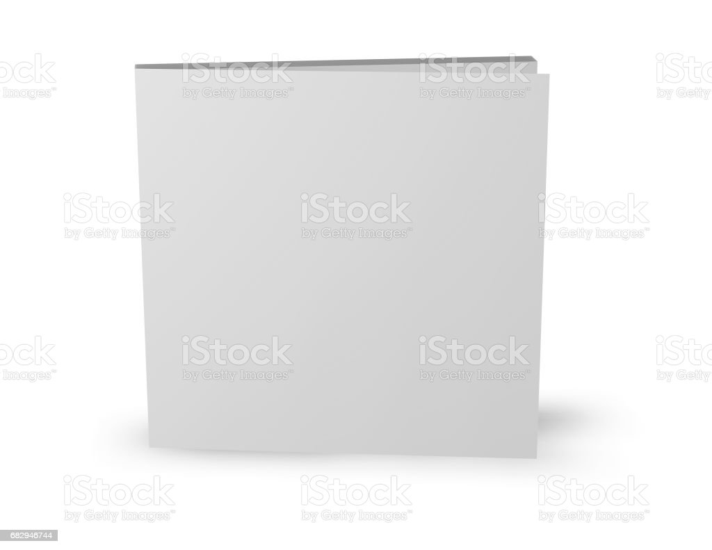Square booklet template standing isolated on white. royalty-free stock photo