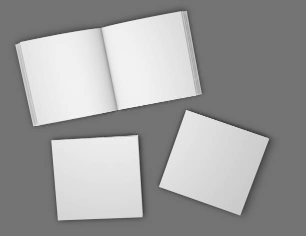 square booklets, brochures blank open pages and covers mock up illustration. - square shape stock pictures, royalty-free photos & images