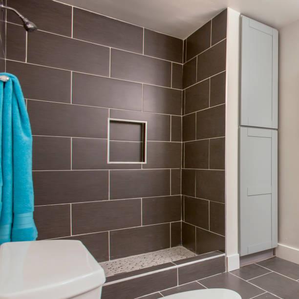Square California bathroom clean inside nice interior stock photo