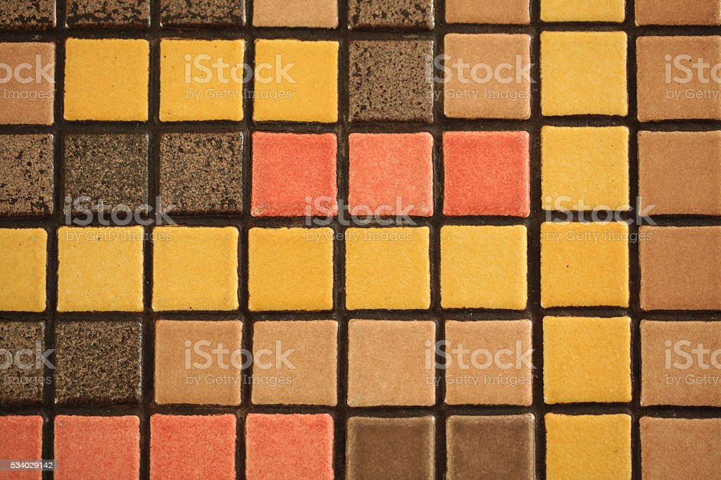 Square ceramic tiles like mosaic in a row stock photo