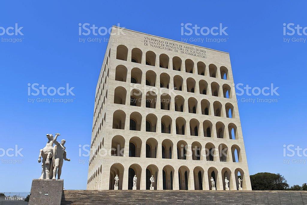 Square Colosseum in Rome stock photo