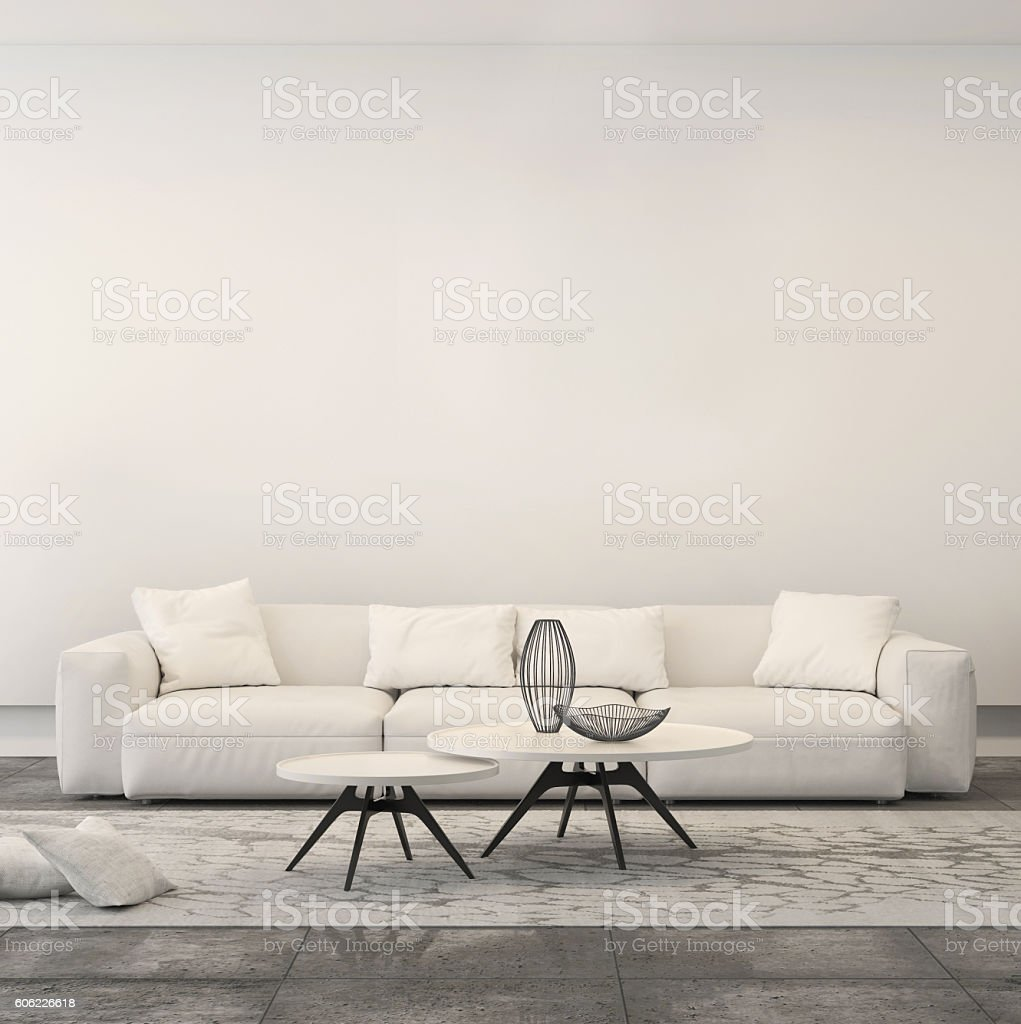 Square composition showing modern minimalist living room – Foto