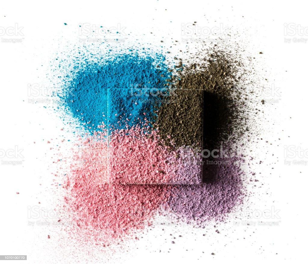 A square cosmetic box with four kinds of colored eye shadow. Isolated...