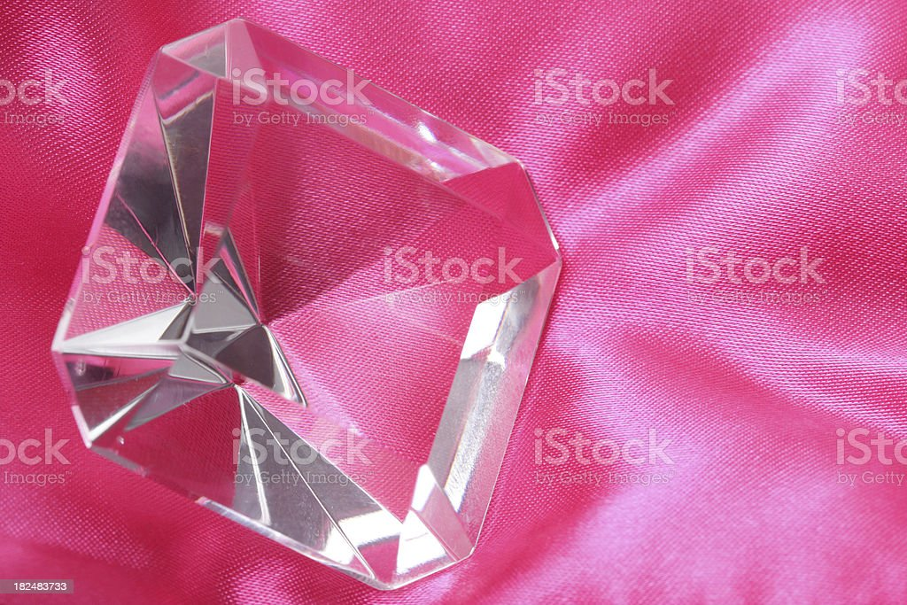 Square cut glass decoration on pink royalty-free stock photo