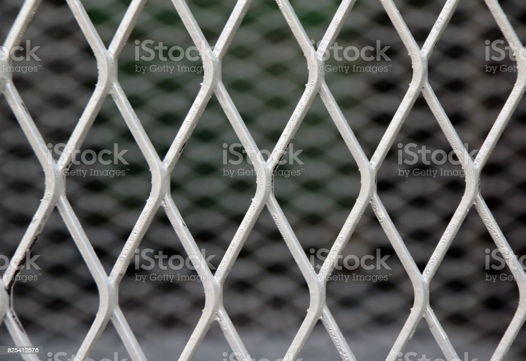 Square diagonal pattern of metal cage. pattern of Steel grating. stock photo