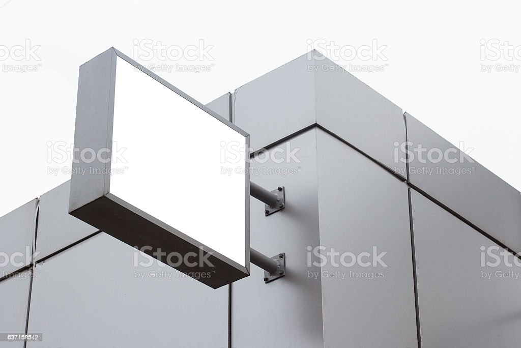 square empty white signboard on a building with modern architect stock photo