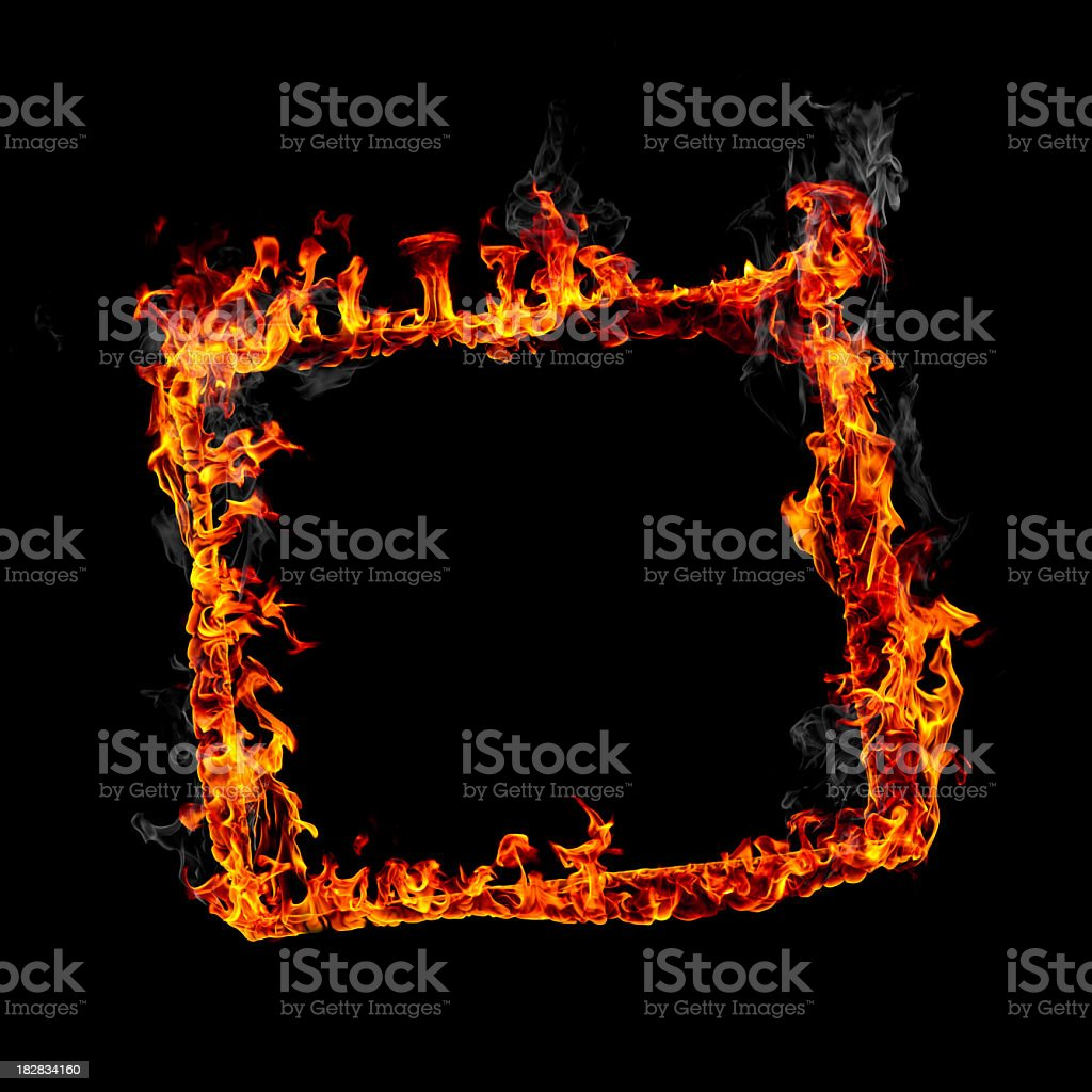 Square fire frame royalty-free stock photo