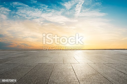 istock Square floor and sky at sunset 654570974