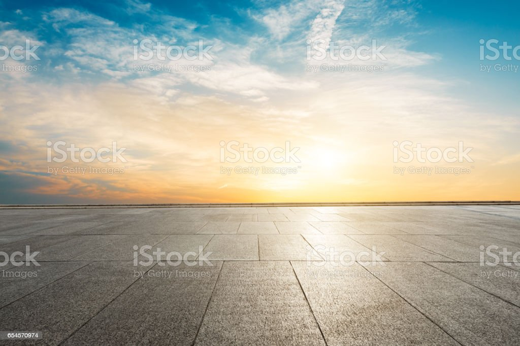 Square floor and sky at sunset stock photo