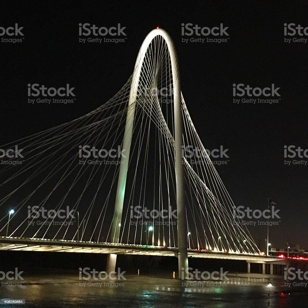 Square format view of bridge into Dallas stock photo