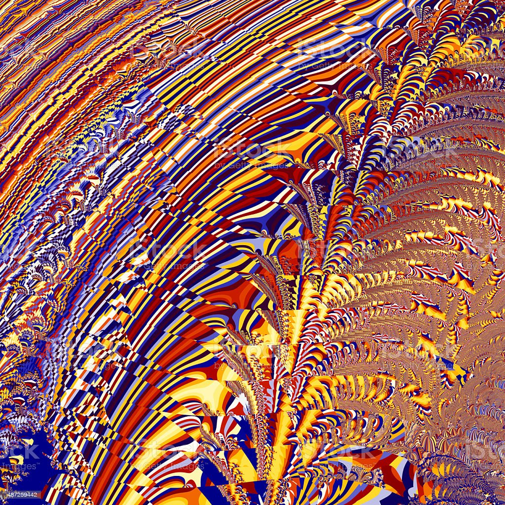 Fractal with colourful fractured psychedelic pattern stock photo