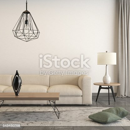 istock Square frame focused on a sofa with interior decorative pieces 545450258