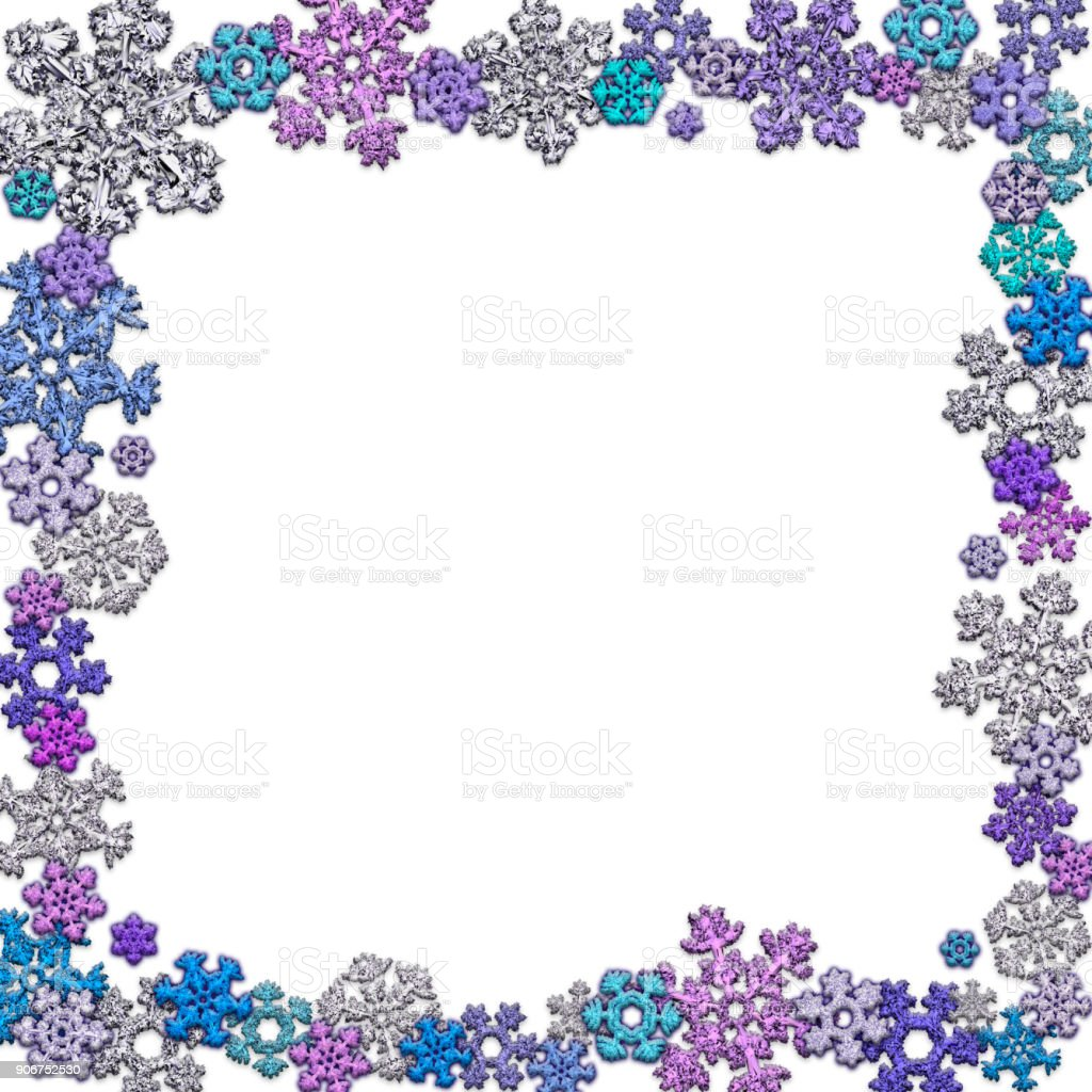 Square frame made of different snowflakes stock photo