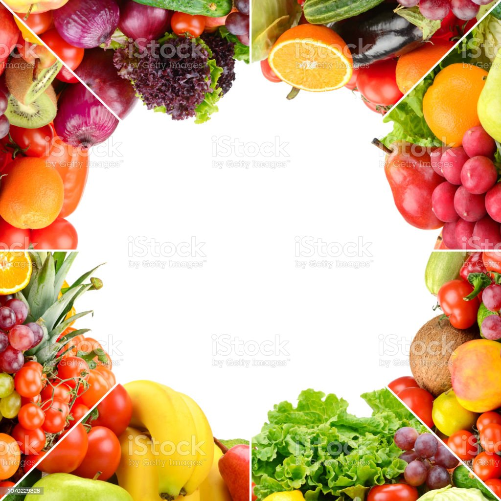 Square frame ripe fruits and vegetables stock photo