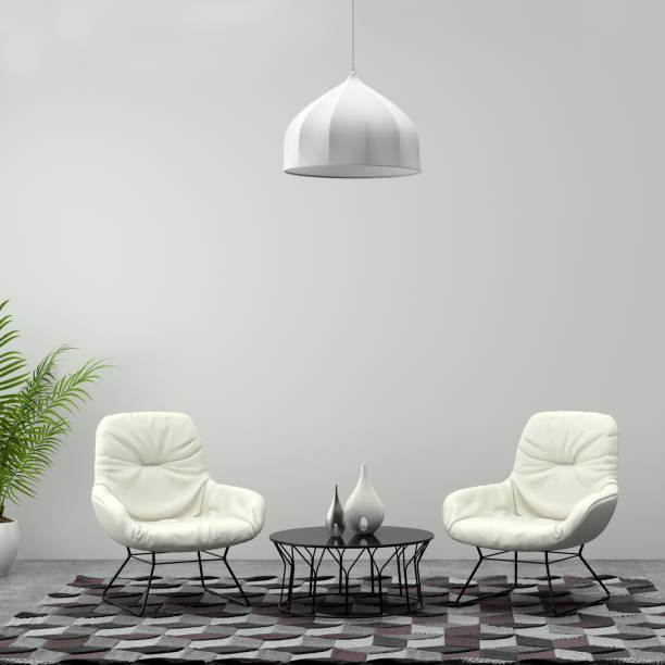 quadratische rahmen zeigt zwei weiße sessel mit couchtisch und anhänger - teppich geometrisch stock-fotos und bilder