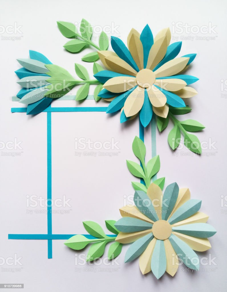 Square Frame With Blue Color Big Paper Flowers Stock Photo