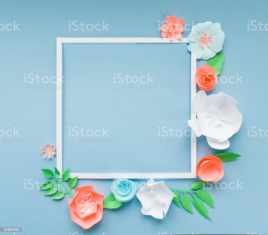 Square Frame With Color Paper Flowers On The Blue Background Flat