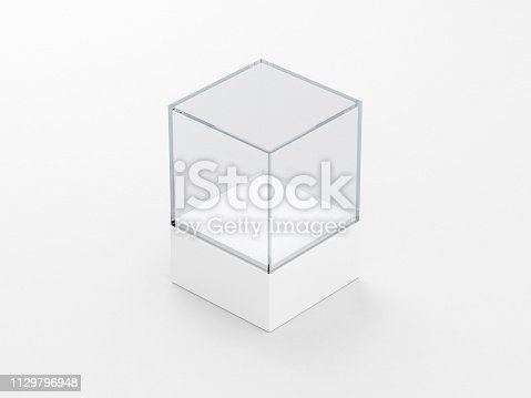 istock Square glass showcase box mockup with podium , front view isolated on gray 1129796948