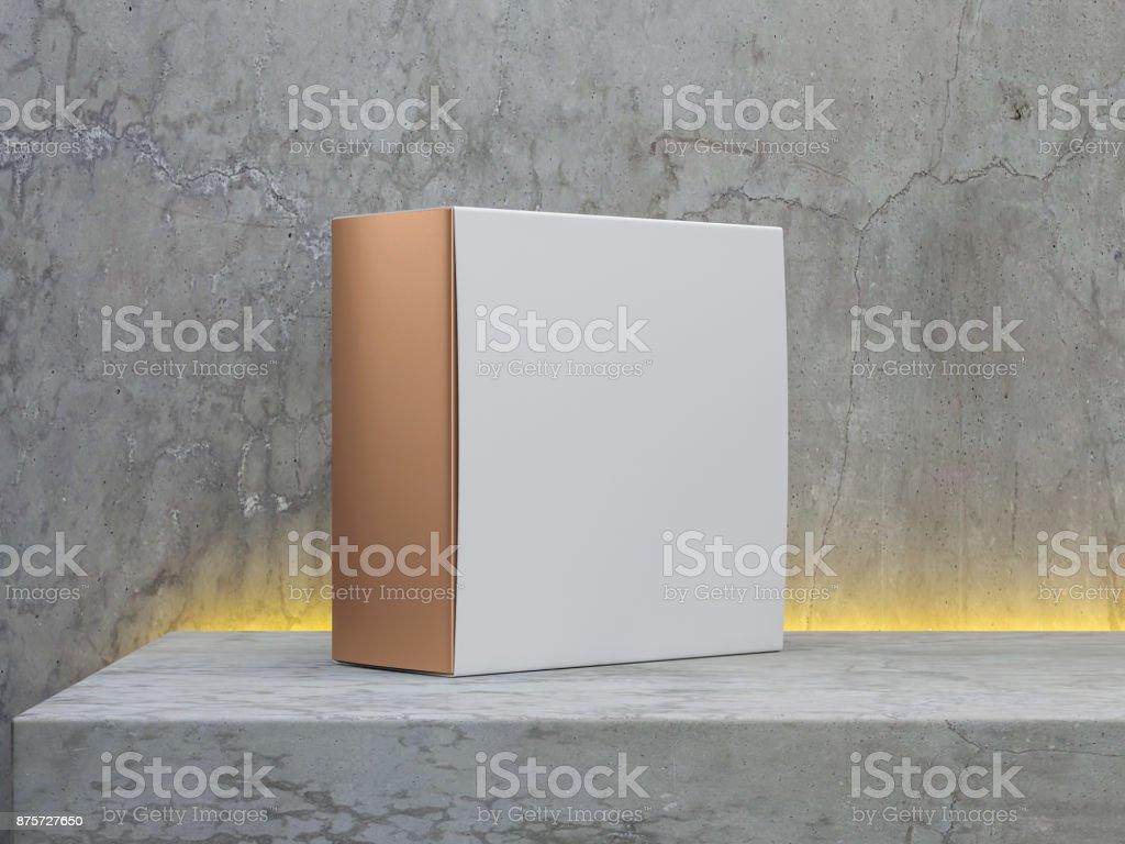 Wandplank Met Led Verlichting.Vierkante Gouden Doos Verpakking Met Witte Cover Op Concrete