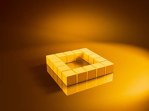 Square Golden Cubes 3D Render of a rectangular square made from pixelated golden cubes. Very high resolution available! Use it for Your own composings!Related images: golden cube stock pictures, royalty-free photos & images