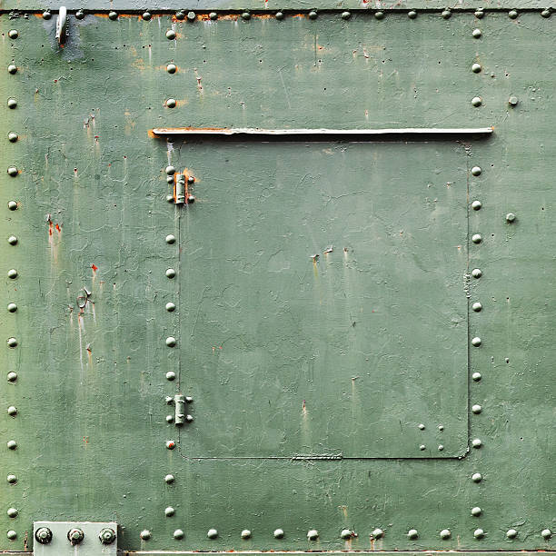 Square green industrial metal background stock photo