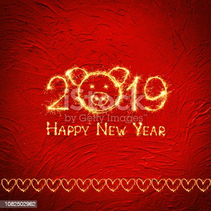 1070880528 istock photo Square Greeting card Happy New Year 2019 1082502962