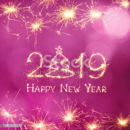 1070880528 istock photo Square Greeting card Happy New Year 2019 1082505070