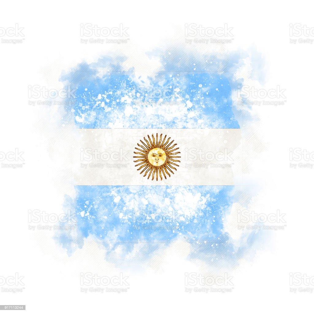 Square grunge flag of argentina stock photo