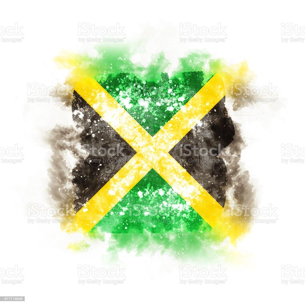 Quadrados de grunge bandeira da jamaica - foto de acervo