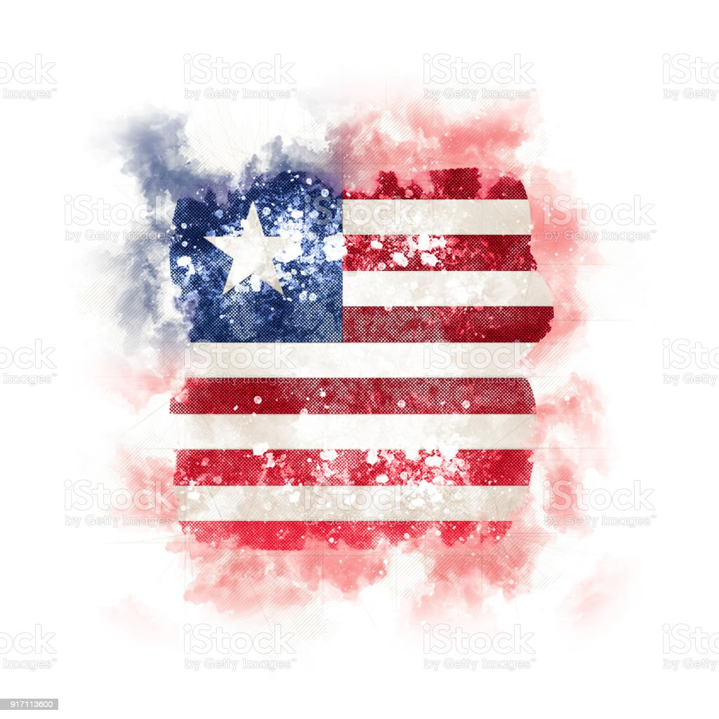 Square grunge flag of liberia stock photo