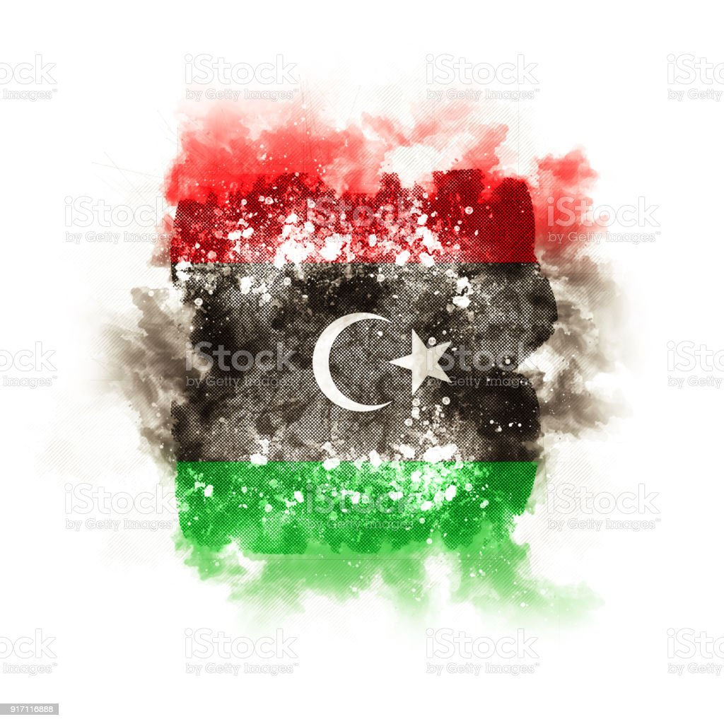 Square grunge flag of libya stock photo