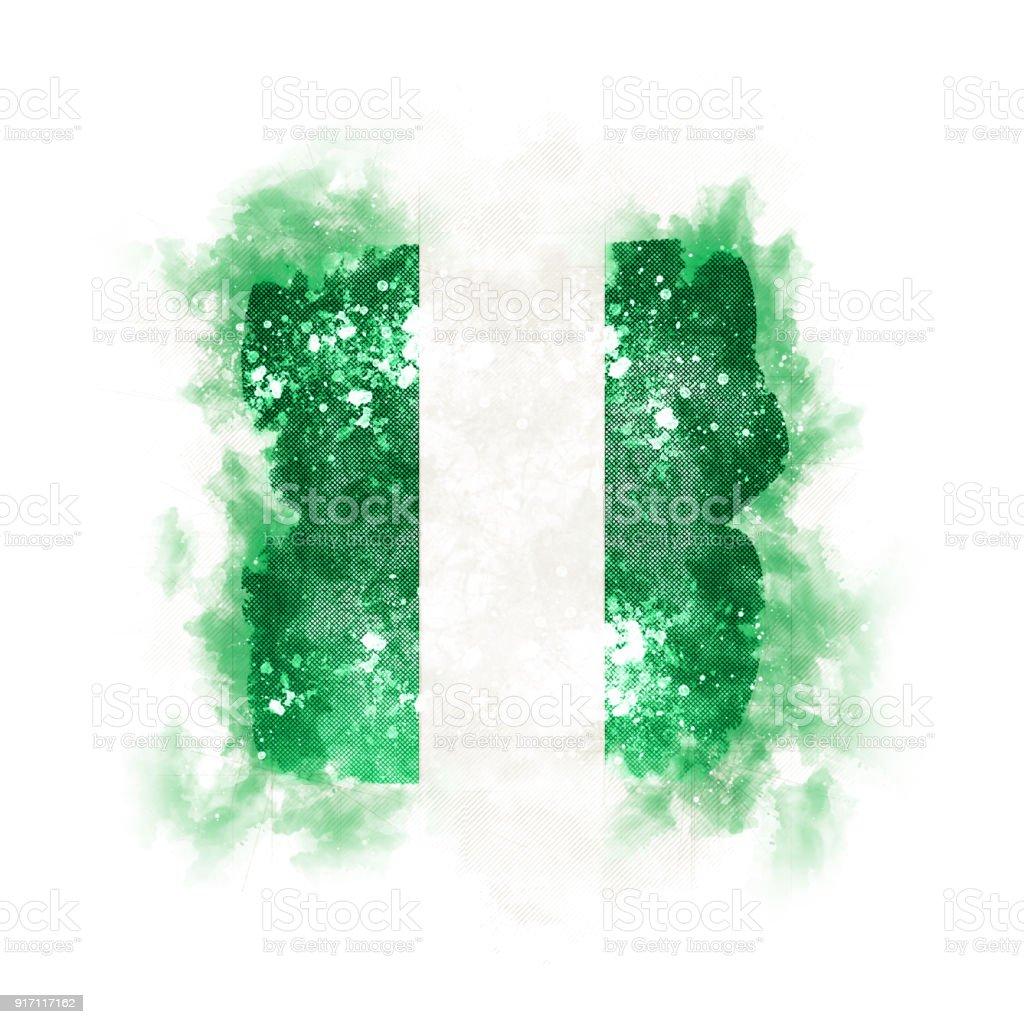 Plaza grunge bandera de nigeria - foto de stock