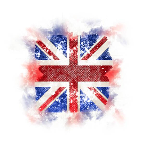 Square grunge flag of united kingdom stock photo