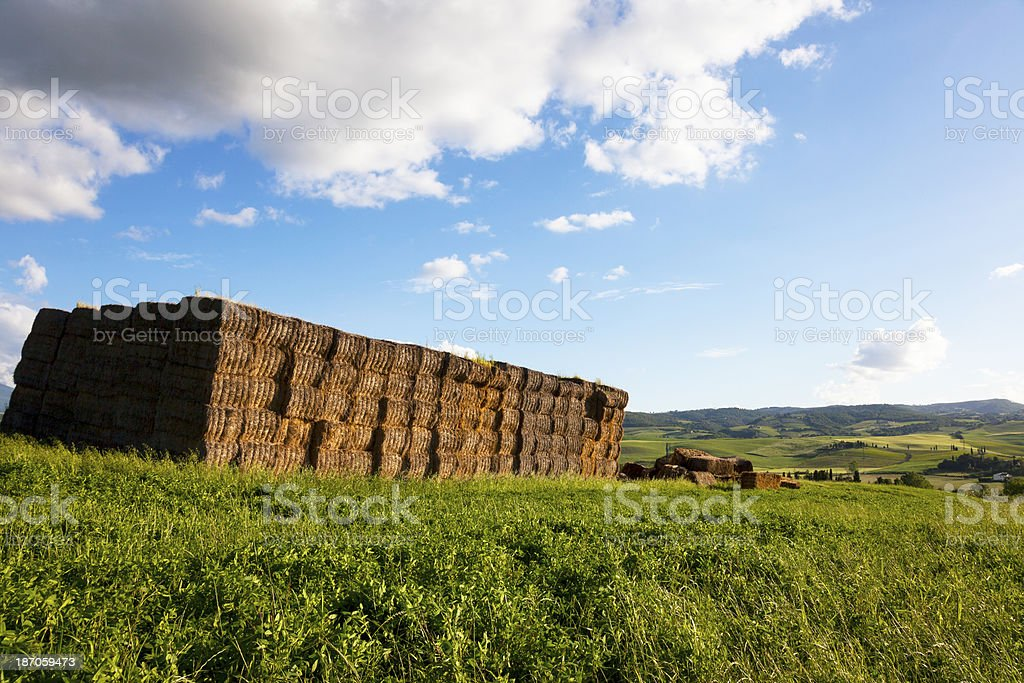 Square Hay Bale In The lawn, Tuscany royalty-free stock photo