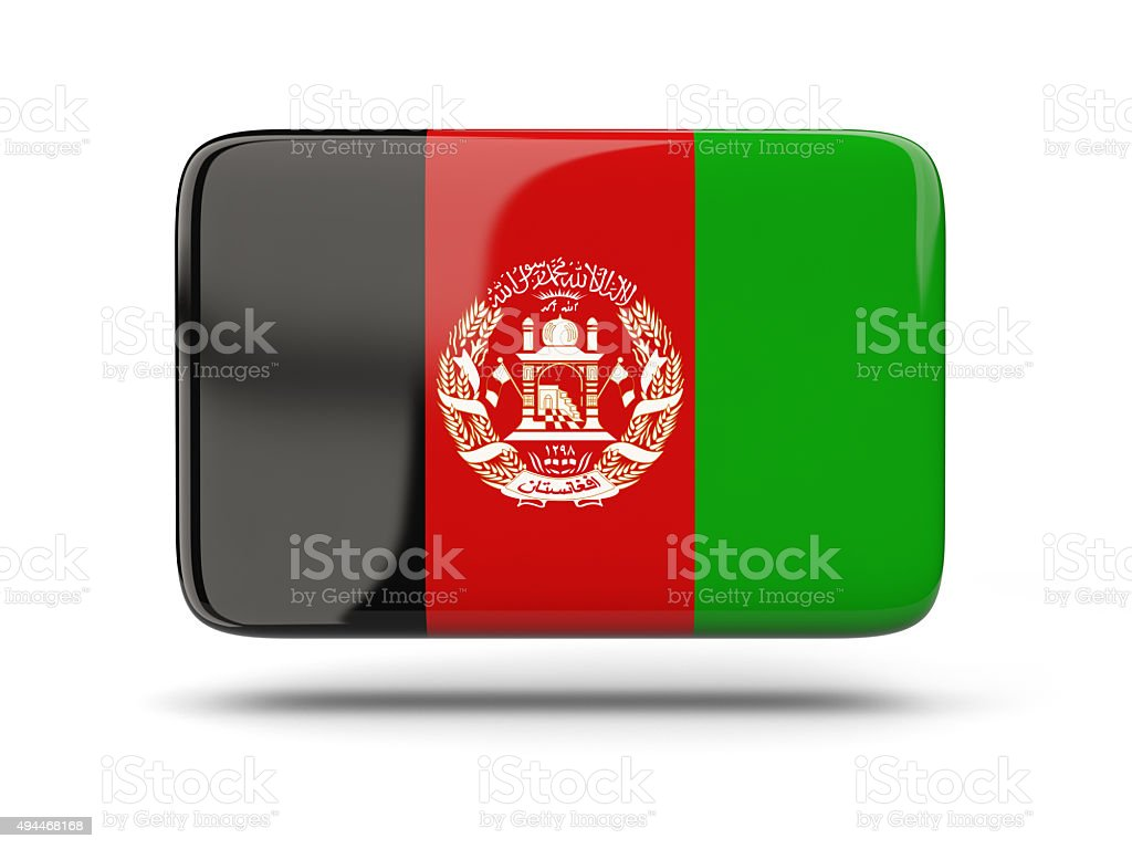 Square icon with flag of afghanistan stock photo