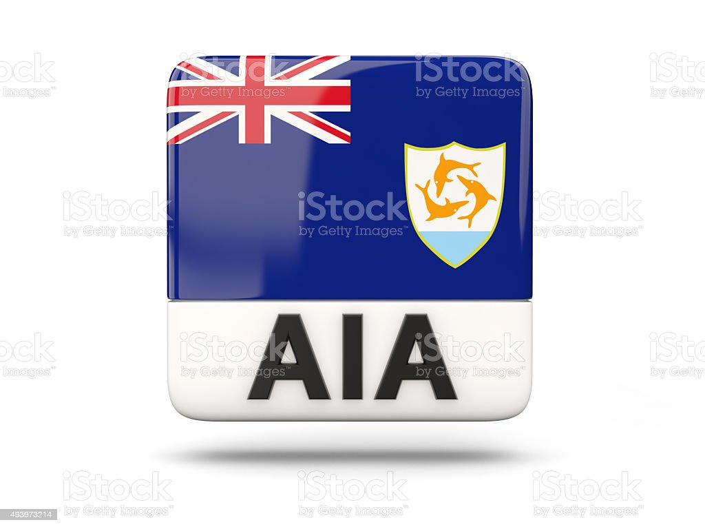 Square icon with flag of anguilla stock photo
