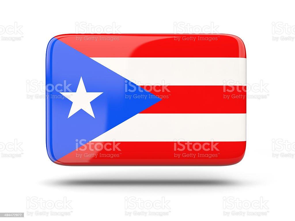 Square icono con bandera de puerto rico - foto de stock