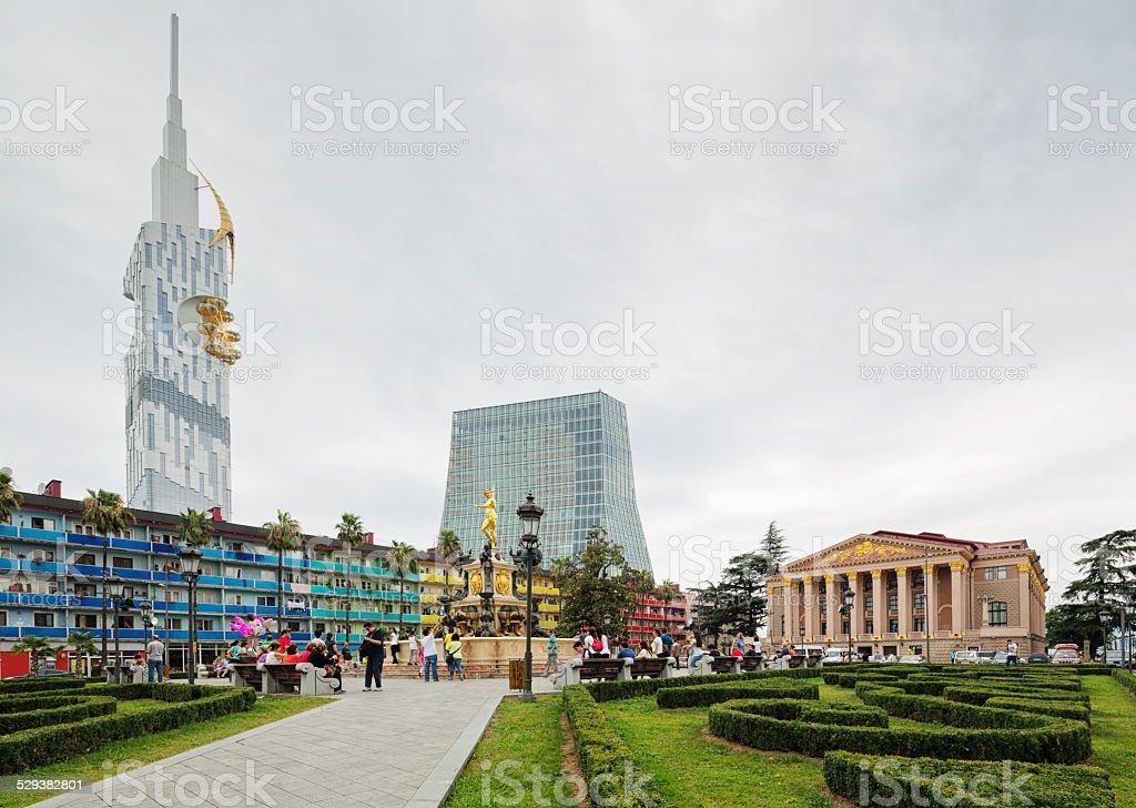 Square in Batumi, Georgia stock photo