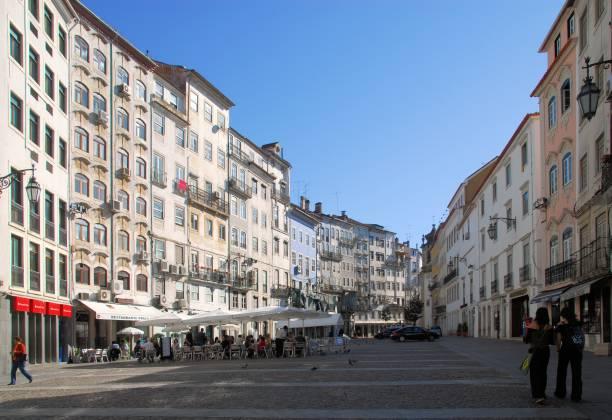 square in coimbra city center, portugal - praça do comércio - esplanada portugal imagens e fotografias de stock