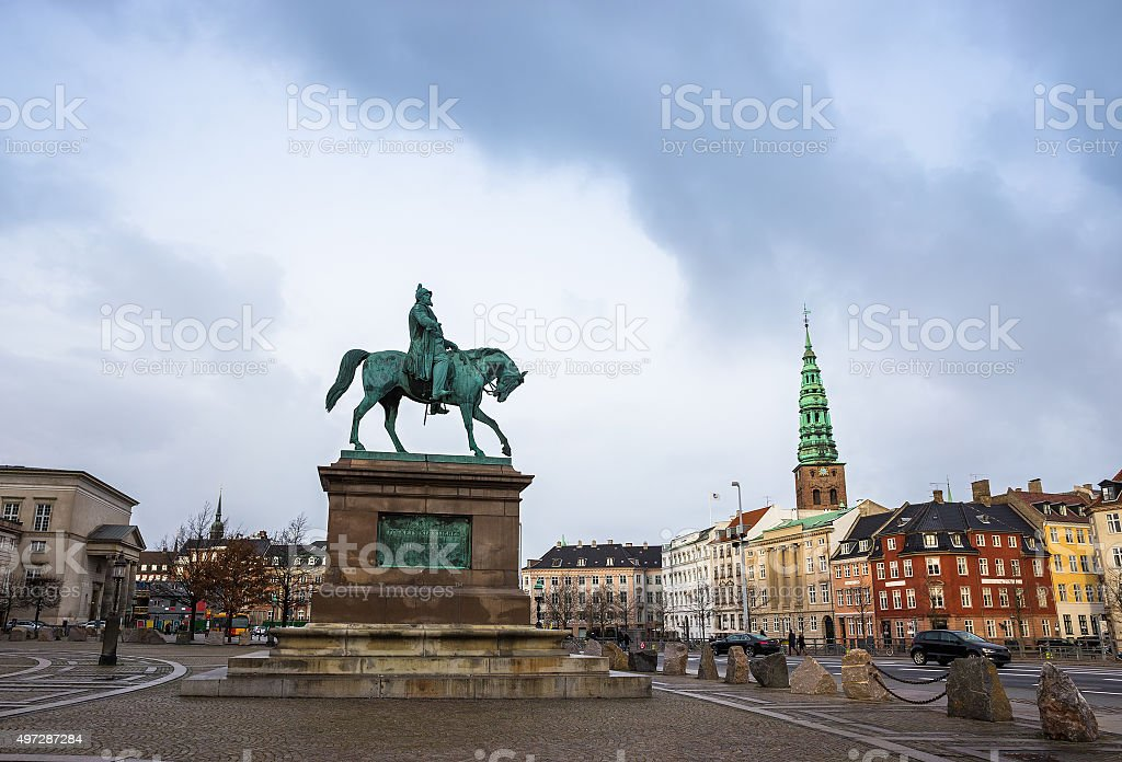 Square in Copenhagen, Denmark, Scandinavia stock photo