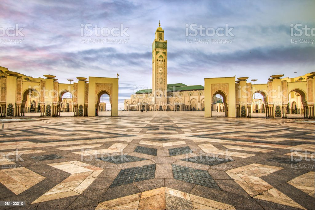 Square in front of famous Mosque I in Casablanca Morocco stock photo