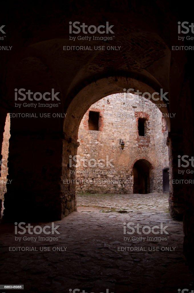 Square in Lipowiec Castle stock photo