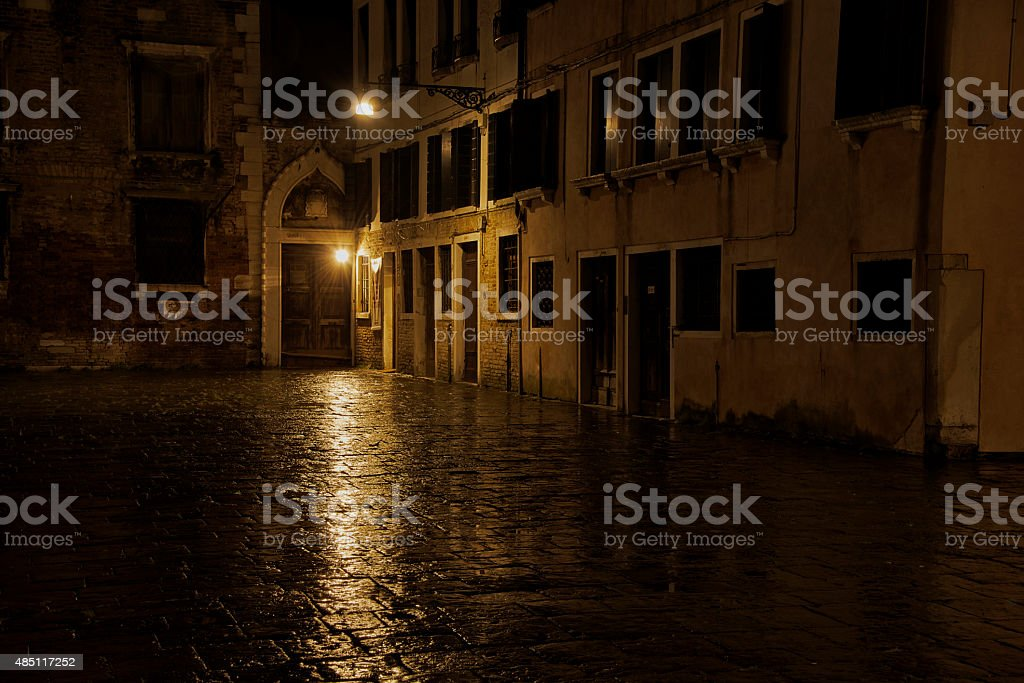 Square in Venice after Dark stock photo