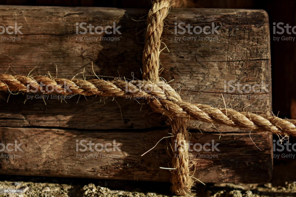 Square Knot whit white rope stock photo