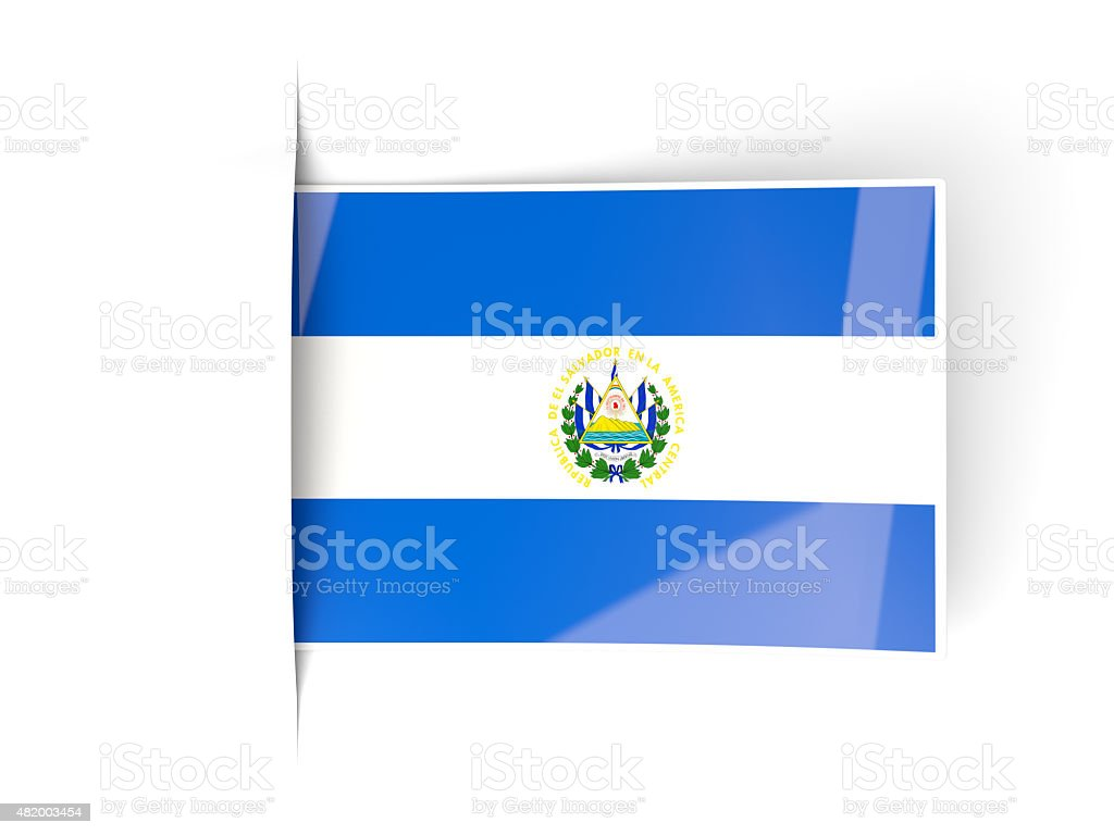 Square label with flag of el salvador stock photo