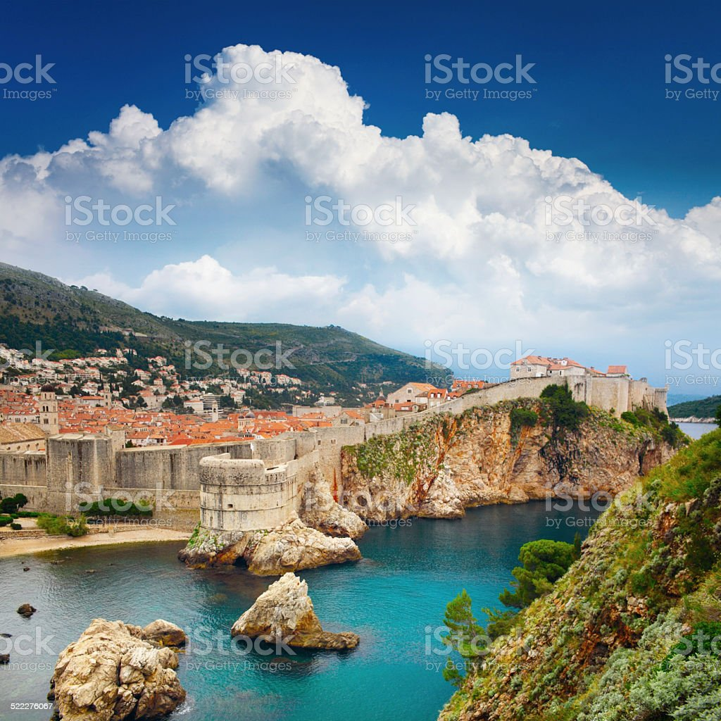 Square landscape with old Fortress, Croatia, Dubrovnik stock photo