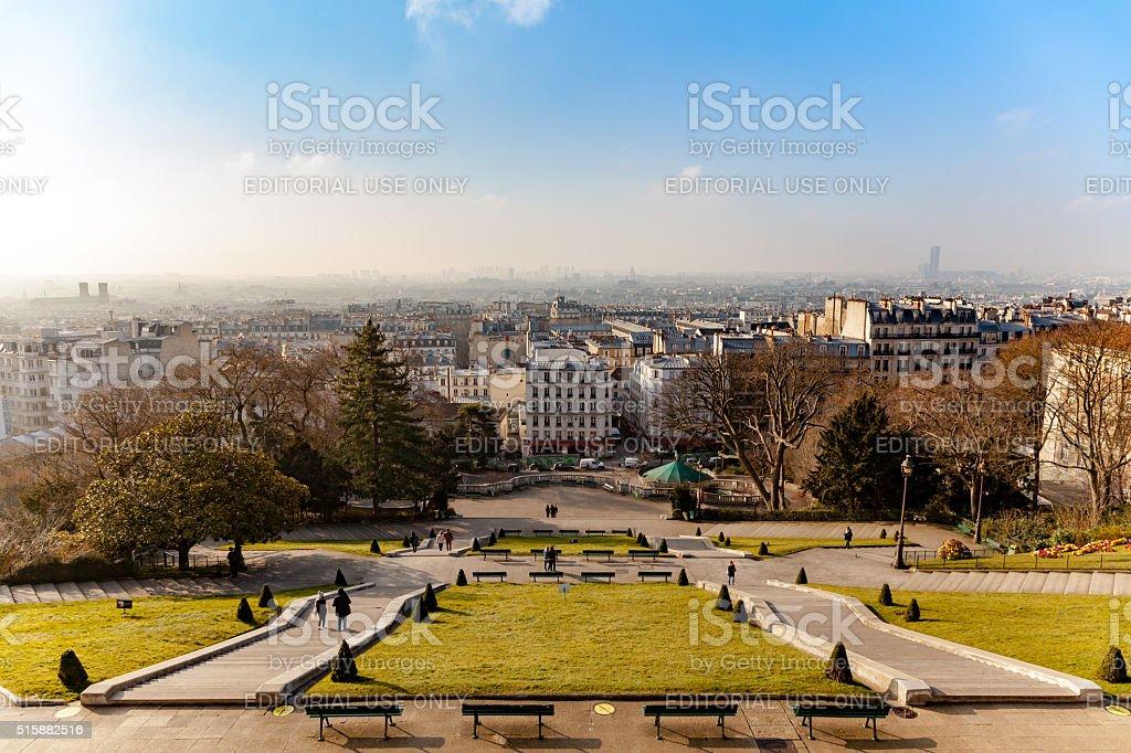 Square Louise Michel near Montmartre stock photo