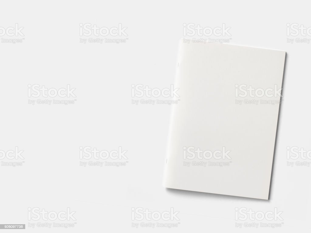 Square Magazine isolated on red with black opened pages. 3d illustration. stock photo
