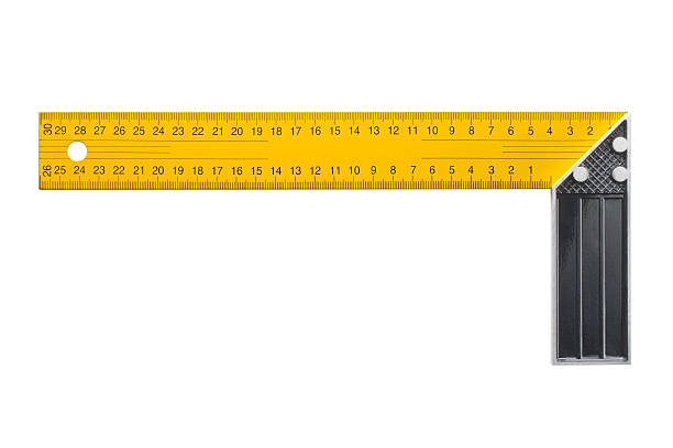 Square measuring tool Yellow square measuring tool. Photo with clipping path. right angle stock pictures, royalty-free photos & images