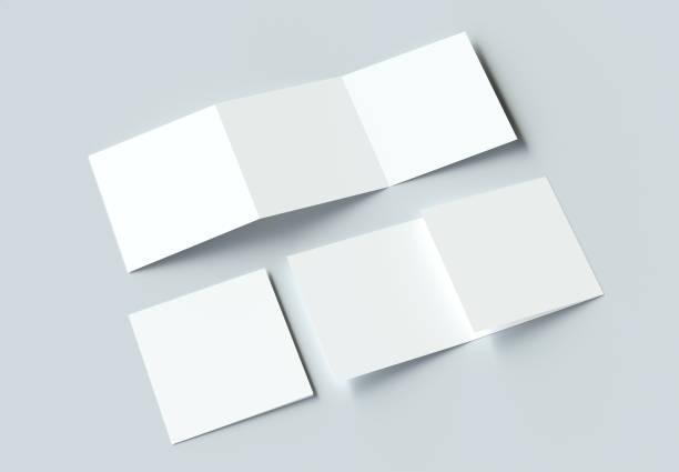 square modern trifold brochure mockup on gray background. 3d rendering. - terceira imagens e fotografias de stock